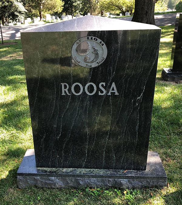 Stuart A. Roosa headstone, back