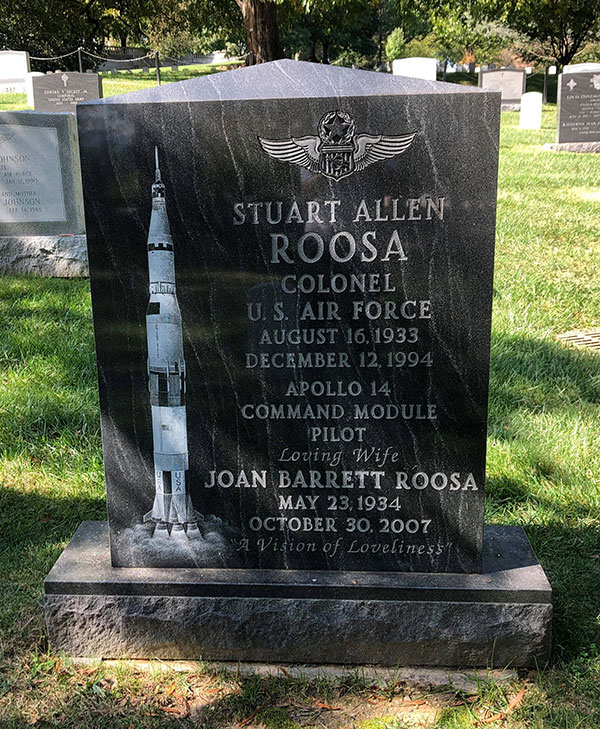 Stuart A. Roosa headstone, front